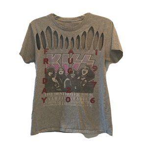 Tops - Kiss Destroyer 1976 Tour Slashed Gray T-shirt S